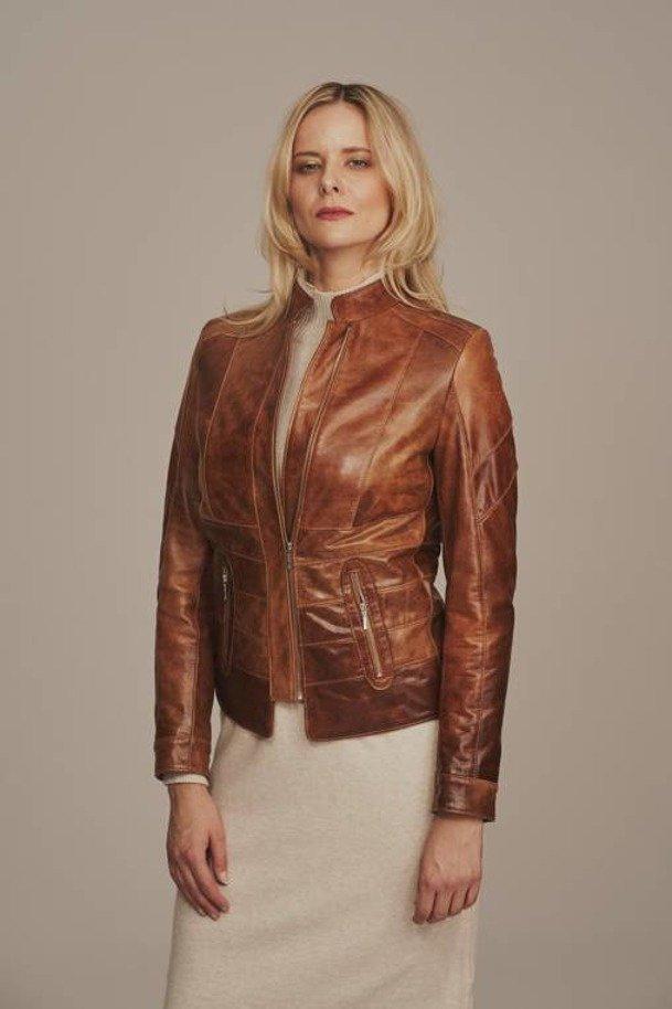 Dámská kožená bunda hnědá