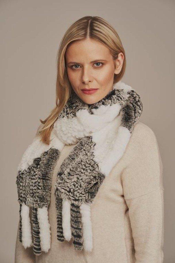 Dámský kožešinový šátek/šál z králíka Rexe
