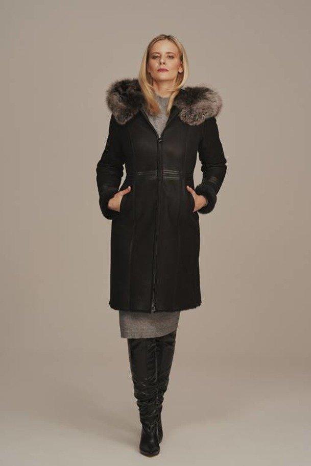 Dámský kožich - Zimní zateplený kožený kabát