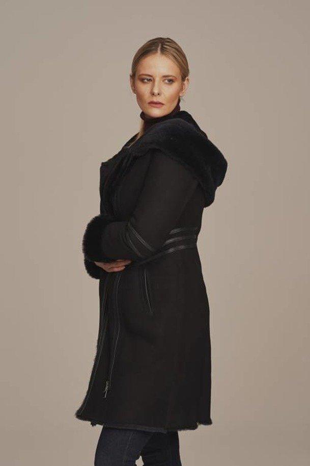 Dámský kožich z pravé kožešiny s kapucí - Kožíšek dámský