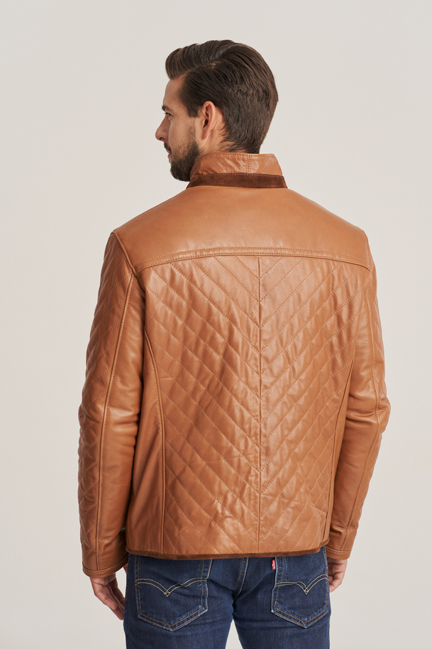 Pánská hnědá kožená bunda