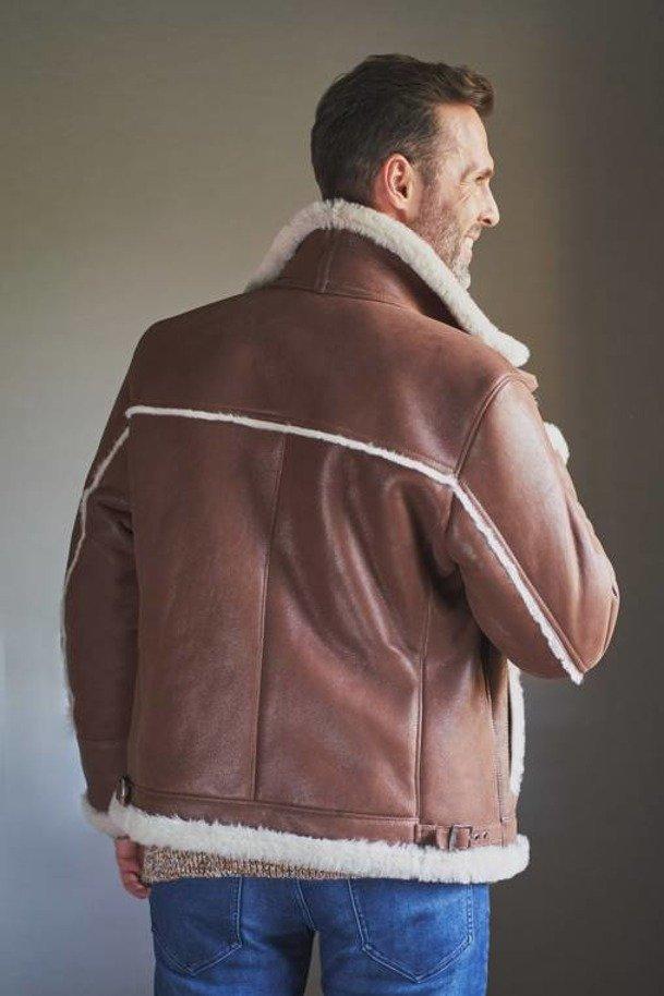 Pánská kožená bunda pilotka - Pánský kožich
