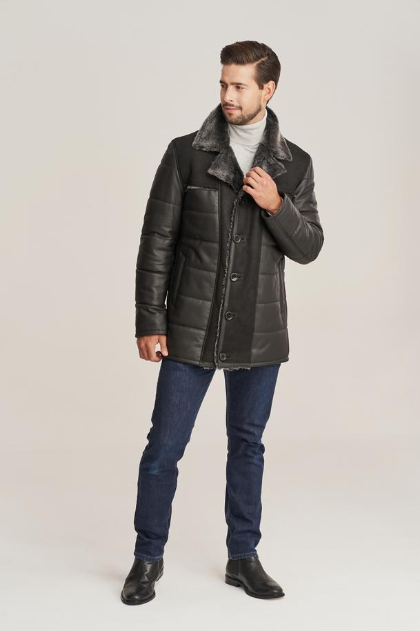 Pánská zimní kožená bunda - Pánský kabát s kožešinou
