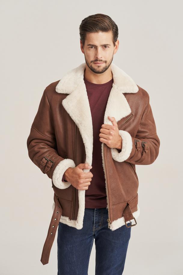 Pánská zimní kožená bunda s kožichem - Pilotní bunda