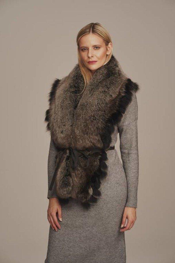 Pravý kožešinový límec liška