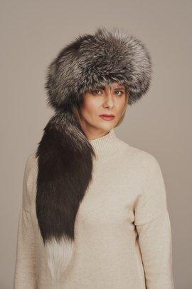 Women's silver fox fur hat