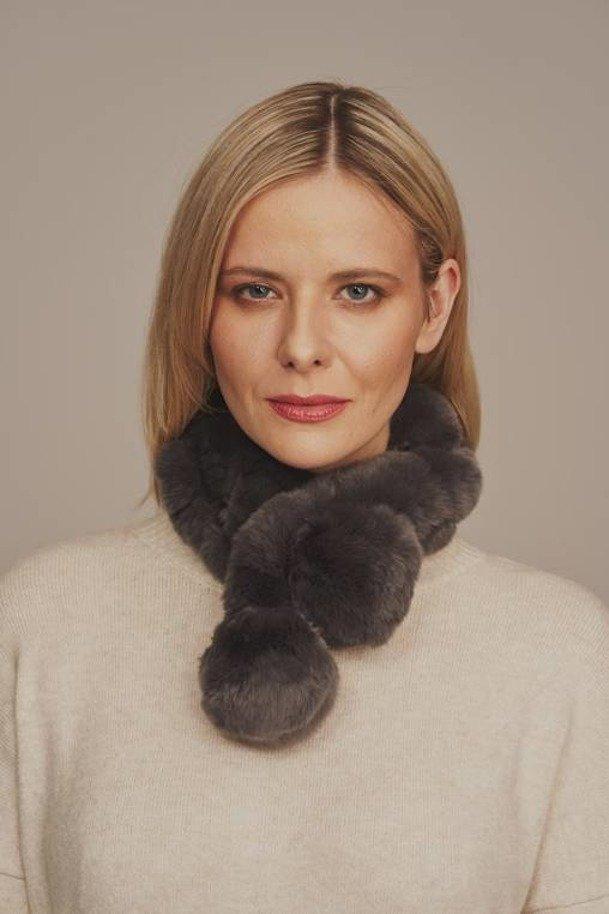 Genuine rex rabbit fur scarf with pompon