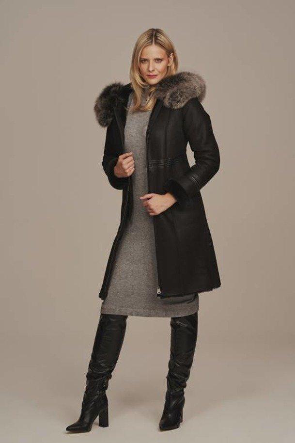 Ladies black sheepskin coat