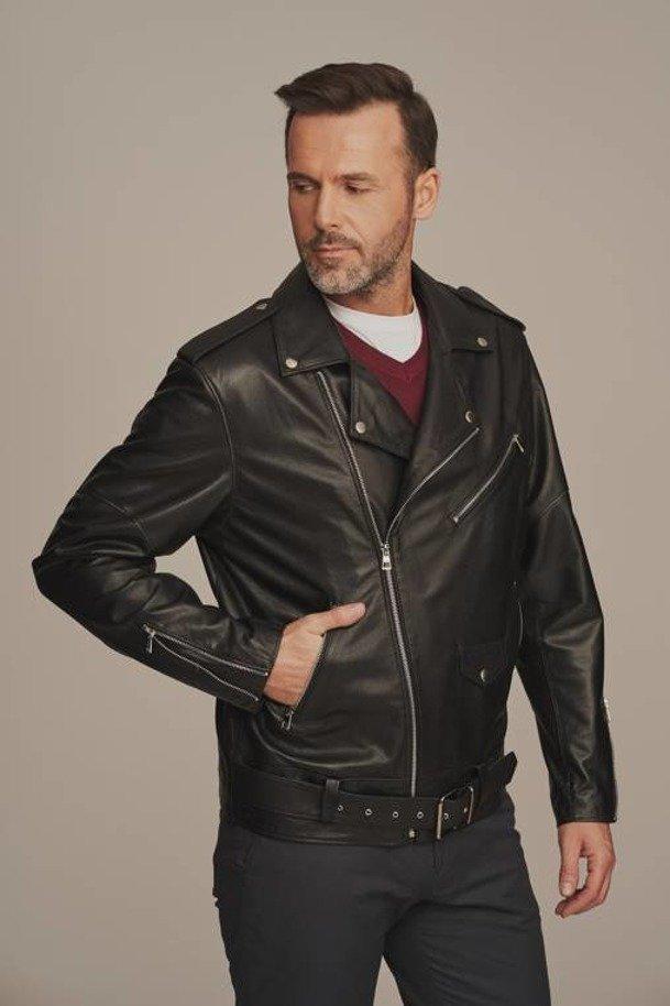 Leather biker jacket mens