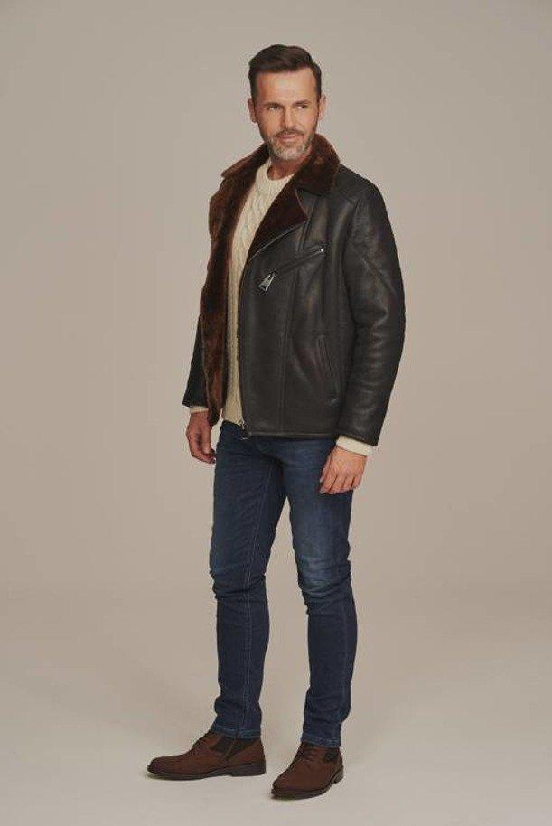 Men's black shearling jacket
