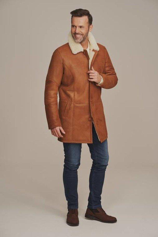Mens long sheepskin coat