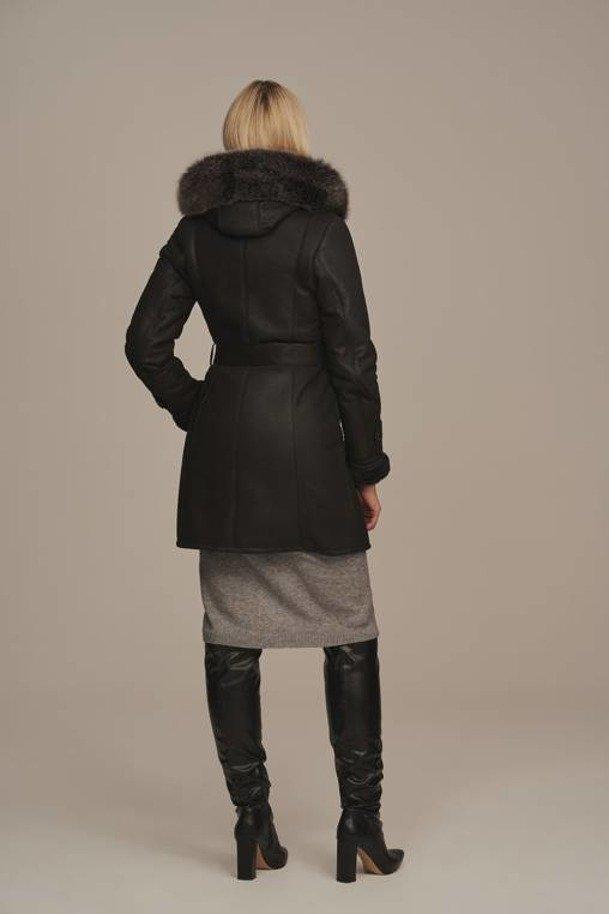 Sheepskin coat with hood