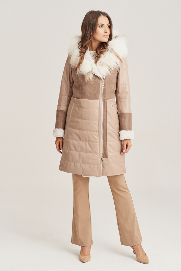 Damen Winter Ledermantel