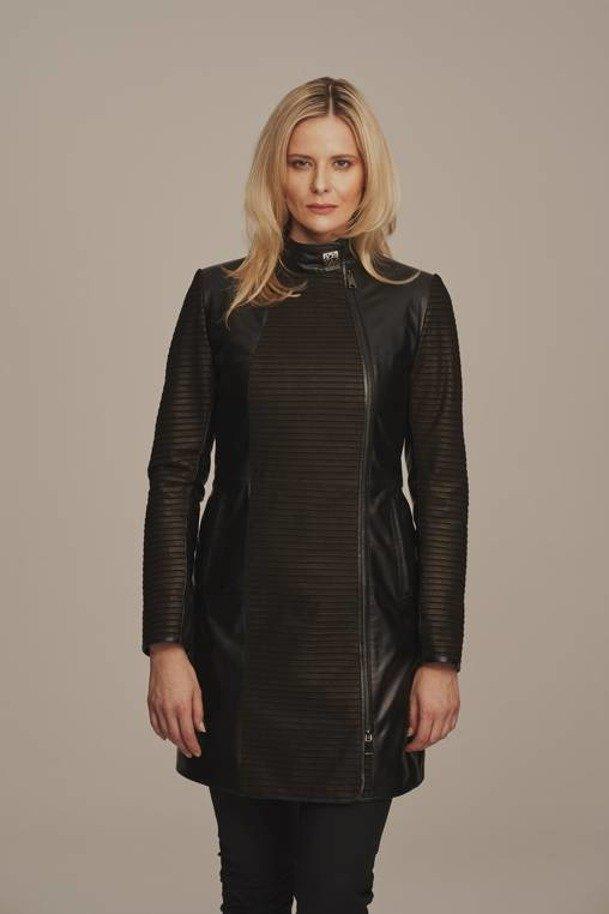 Black leather coat womens