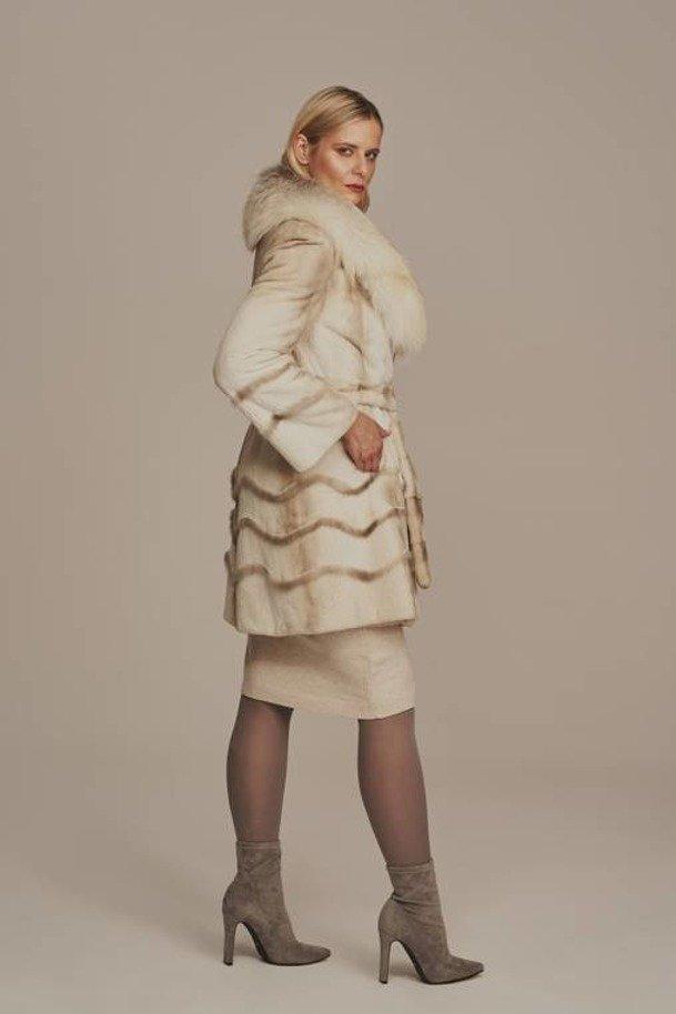 Natural mink fur with a belt