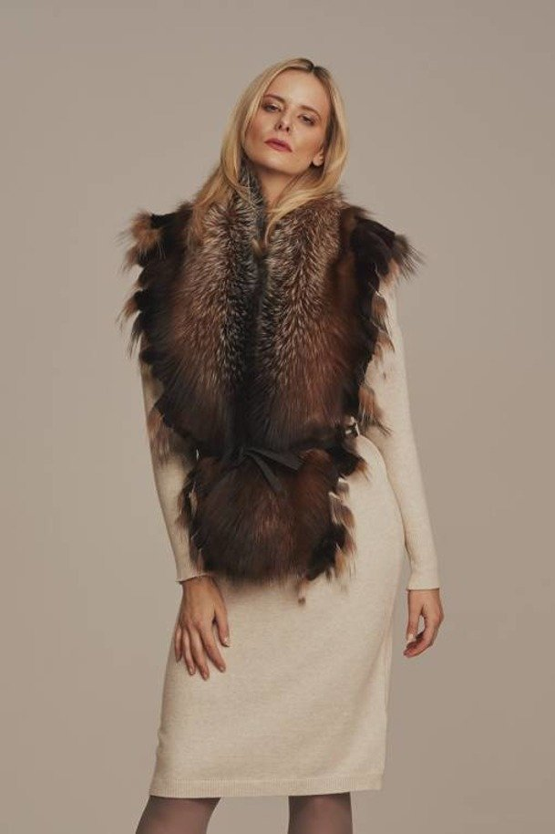 Real brown fox fur collar