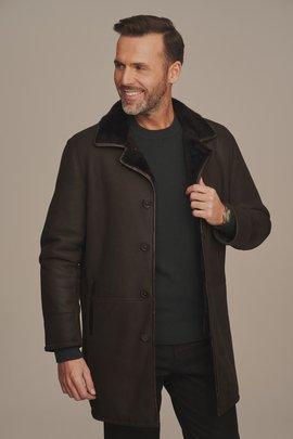Płaszcz męski zimowy z futerkiem naturalny