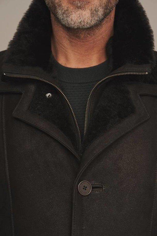 Kożuch męski naturalny - Futro męskie czarne