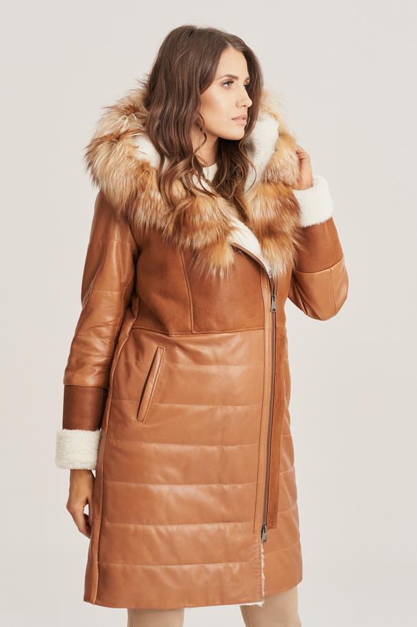 Płaszcz kożuch damski z kapturem - Damska skórzana kurtka zimowa