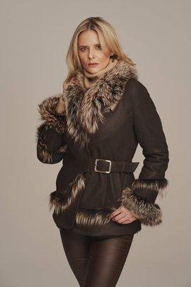 Dámska zimná bunda s líščím golierom