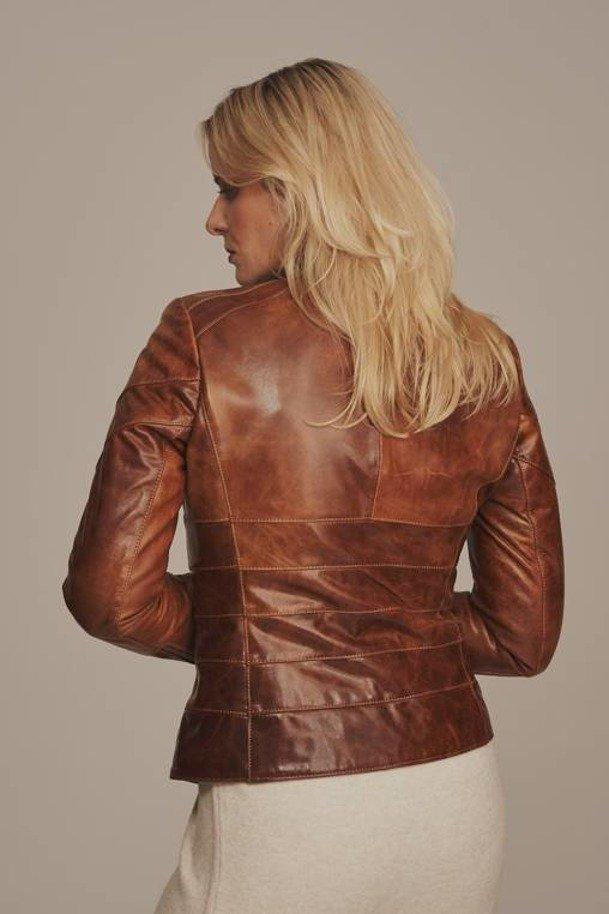 Dámska hnedá kožená bunda