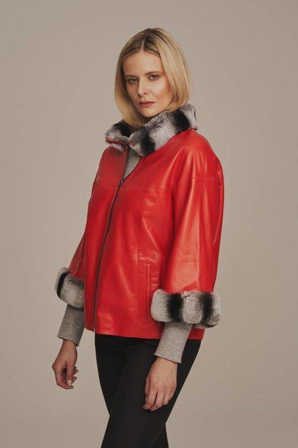 Dámska zateplená kožená bunda