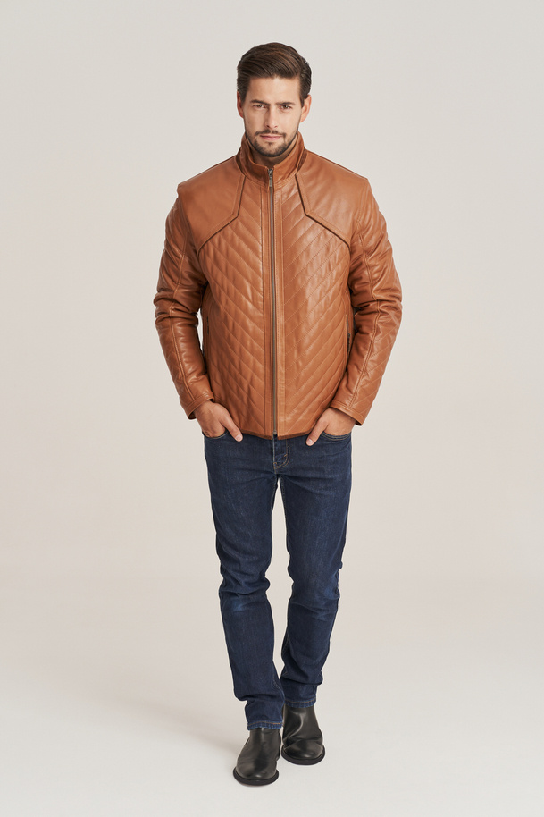 Hnedá pánska kožená bunda