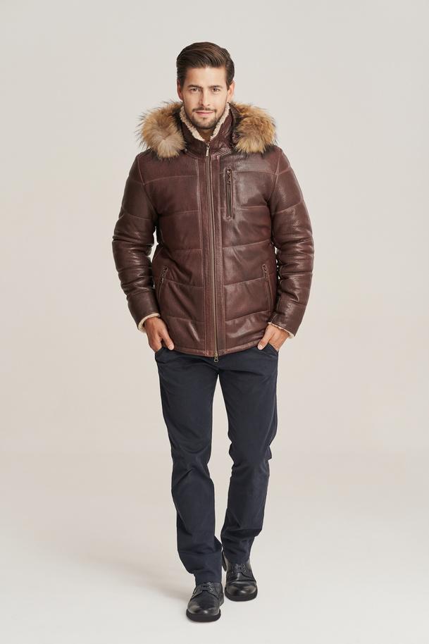 Pánska hnedá zimná bunda z pravej kože s kapucňou