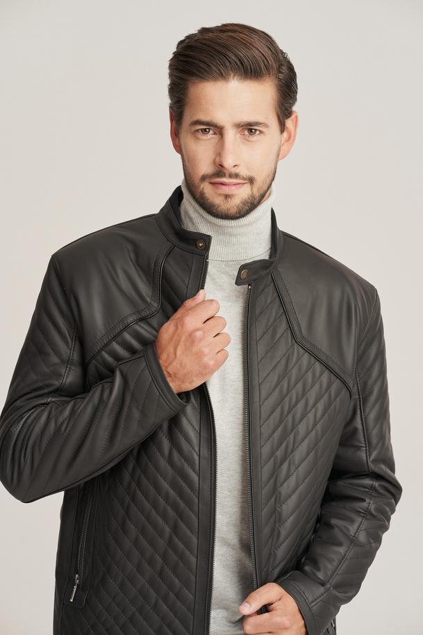 Prava kožená bunda pánská